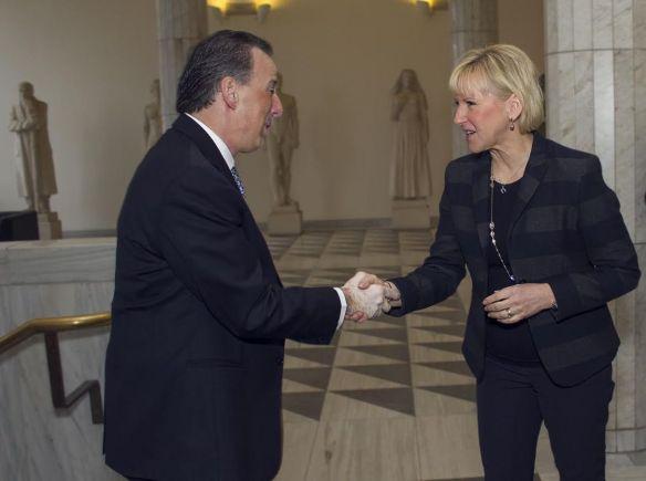El canciller José Antonio Meade con la ministra de Asuntos Exteriores de Suecia, Margot Wallström.