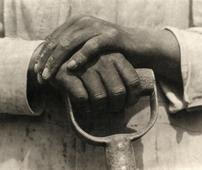 Hands resting on a shovel, 1926 © Tina Modotti. Cortesía Throckmorton Fine Art